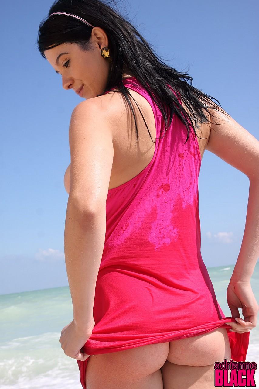 Adrianne black sporting at the seaside