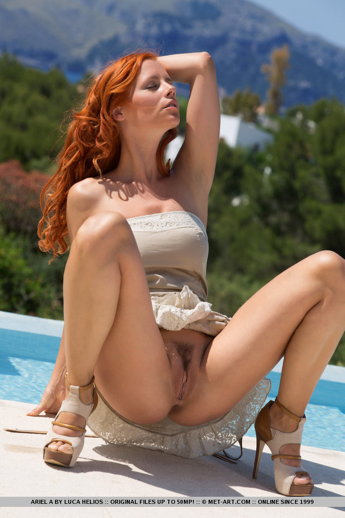 image Hot young redheaded curly hair slut loves to suck and fuck with her bare pussy