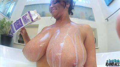 Sarah Nicola Randall taking a milk bath