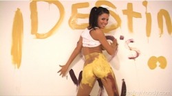 Destiny Moody gets messy with yellow paint