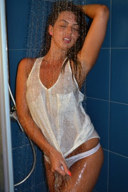 MFC Eleisya in shower in wet T-shirt & panties