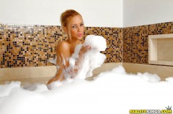 sexy latina porn star Carol taking a bubble bath
