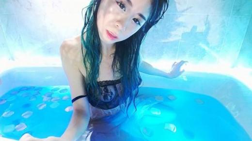 MFC Panzii in wet lingerie enjoying a bath
