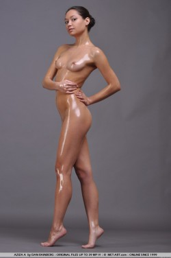 all oiled up Russian model Aziza A