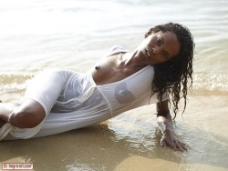 black model Valerie in wet white dress