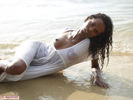 black model Valerie in wet white dress