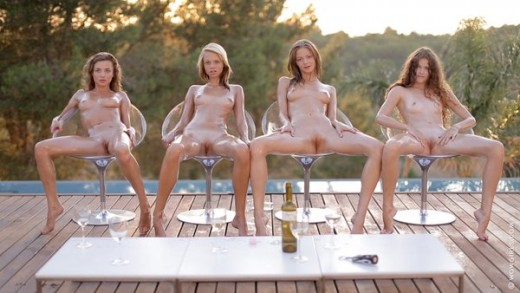 oiled up naked girls with legs open