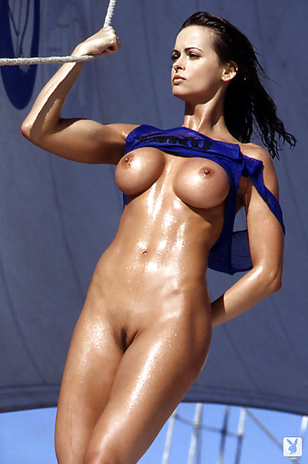 wet Karen McDougal on boat